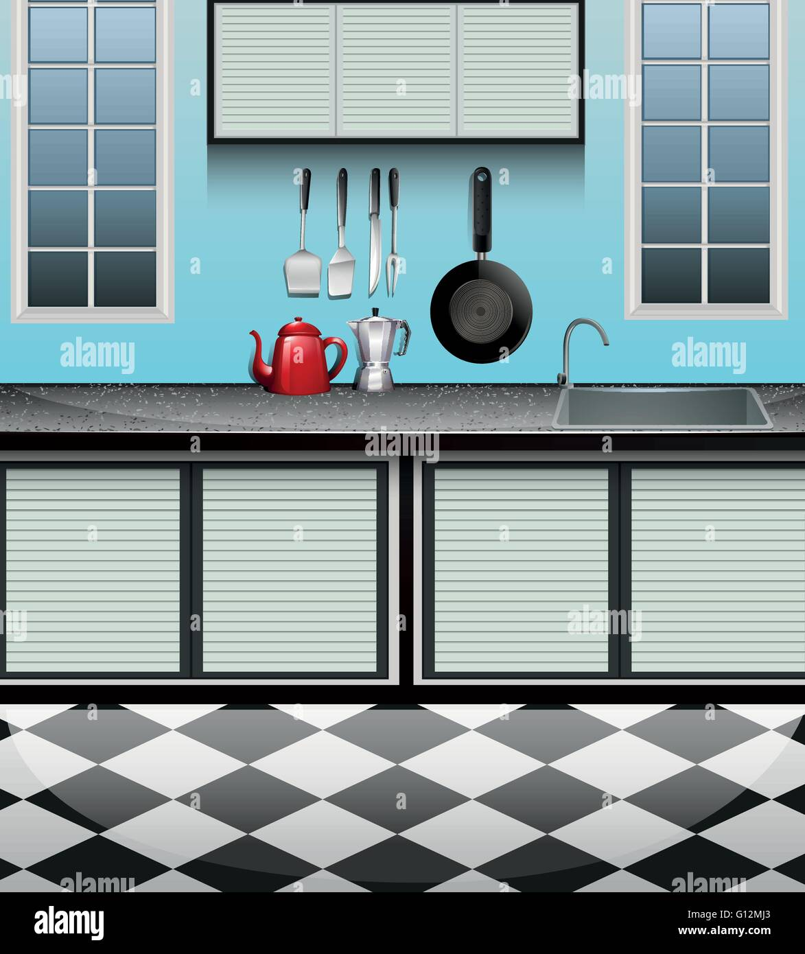 Kitchen Cabinet Stock Vector Images - Alamy