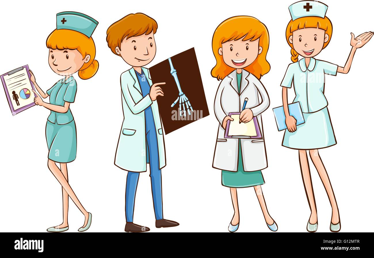 Doctors and nurses with patient files illustration - Stock Image