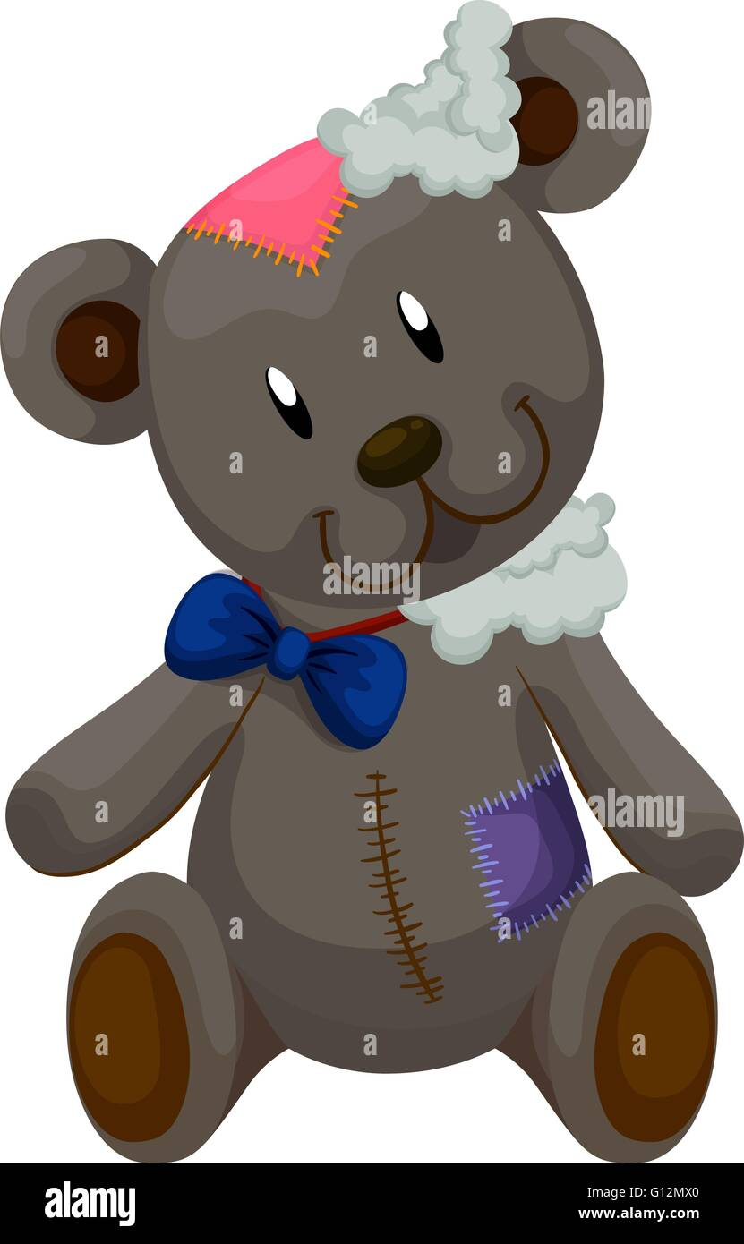 Old teddy bear with patches illustration - Stock Vector