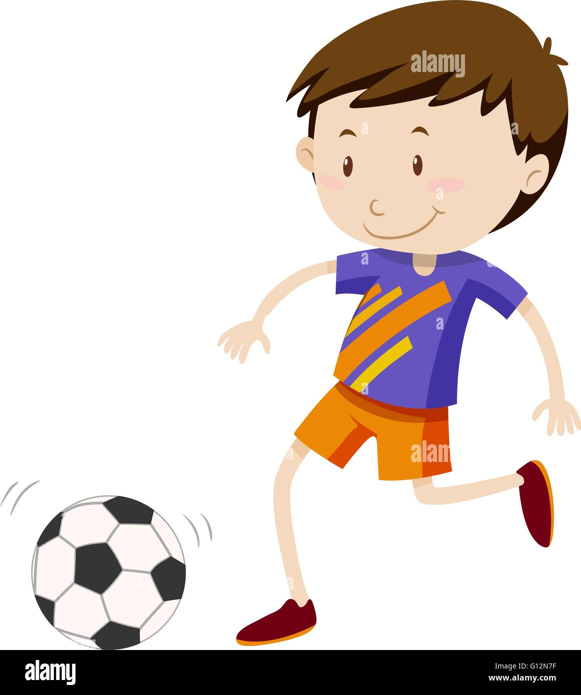 Boy kicing soccer ball illustration Stock Vector
