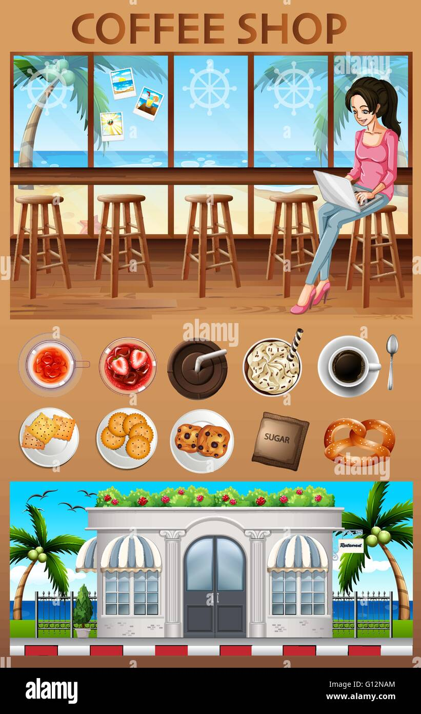 Woman hanging out in the coffee shop illustration - Stock Vector