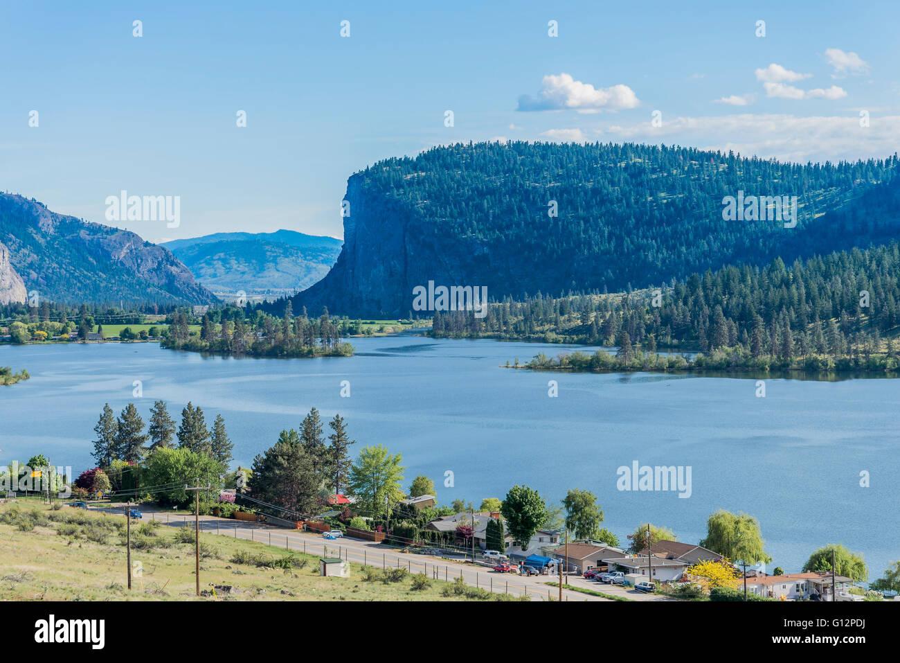 McIntyre Bluff, Vaseux Lake, Okanagan Valley, British Columbia, Canada - Stock Image