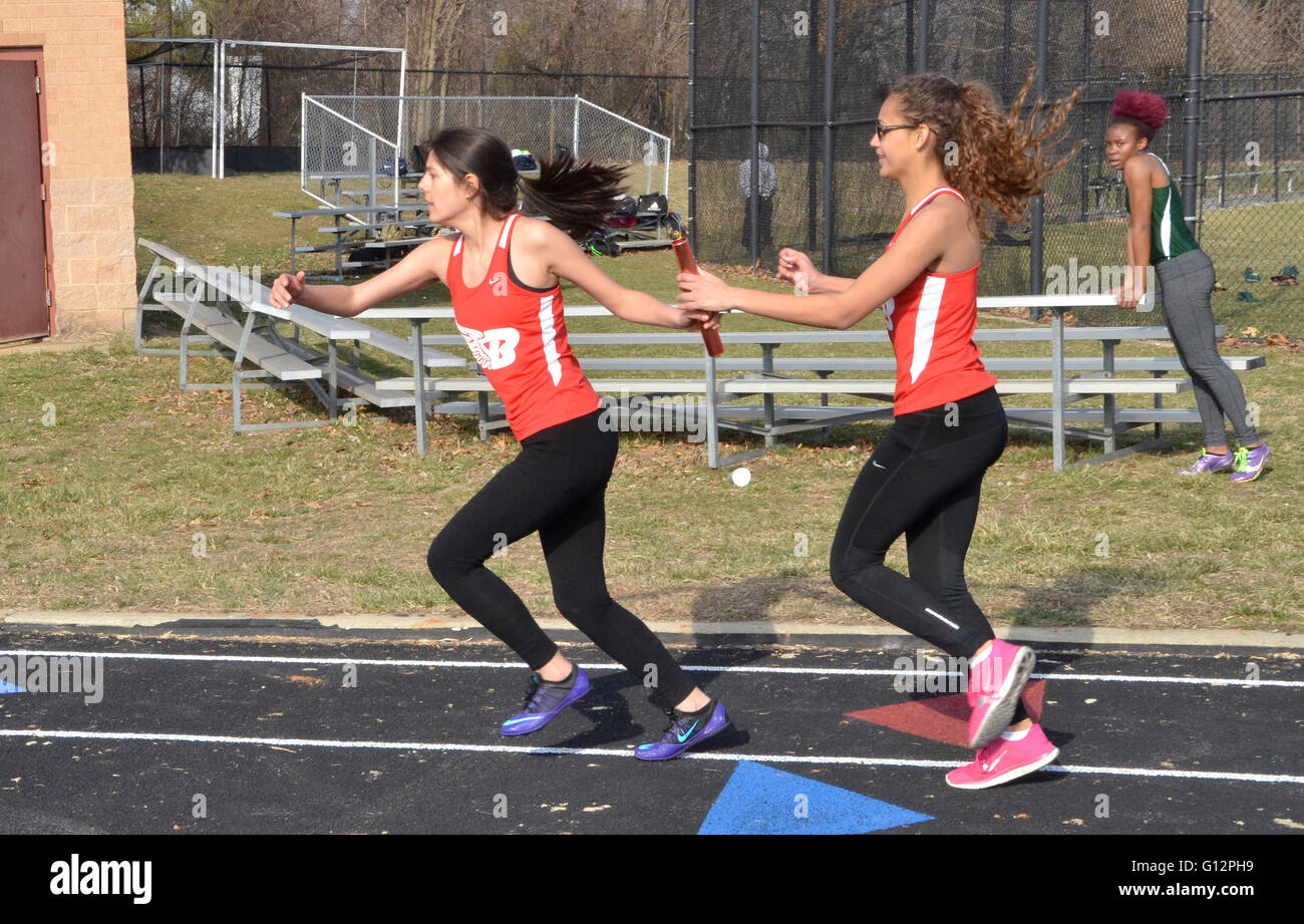 Handoff in a relay race - Stock Image