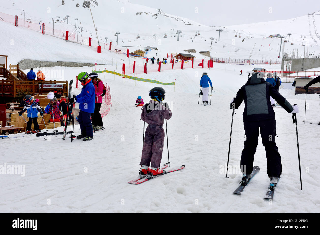 Skiers getting started, les Arcs, France - Stock Image