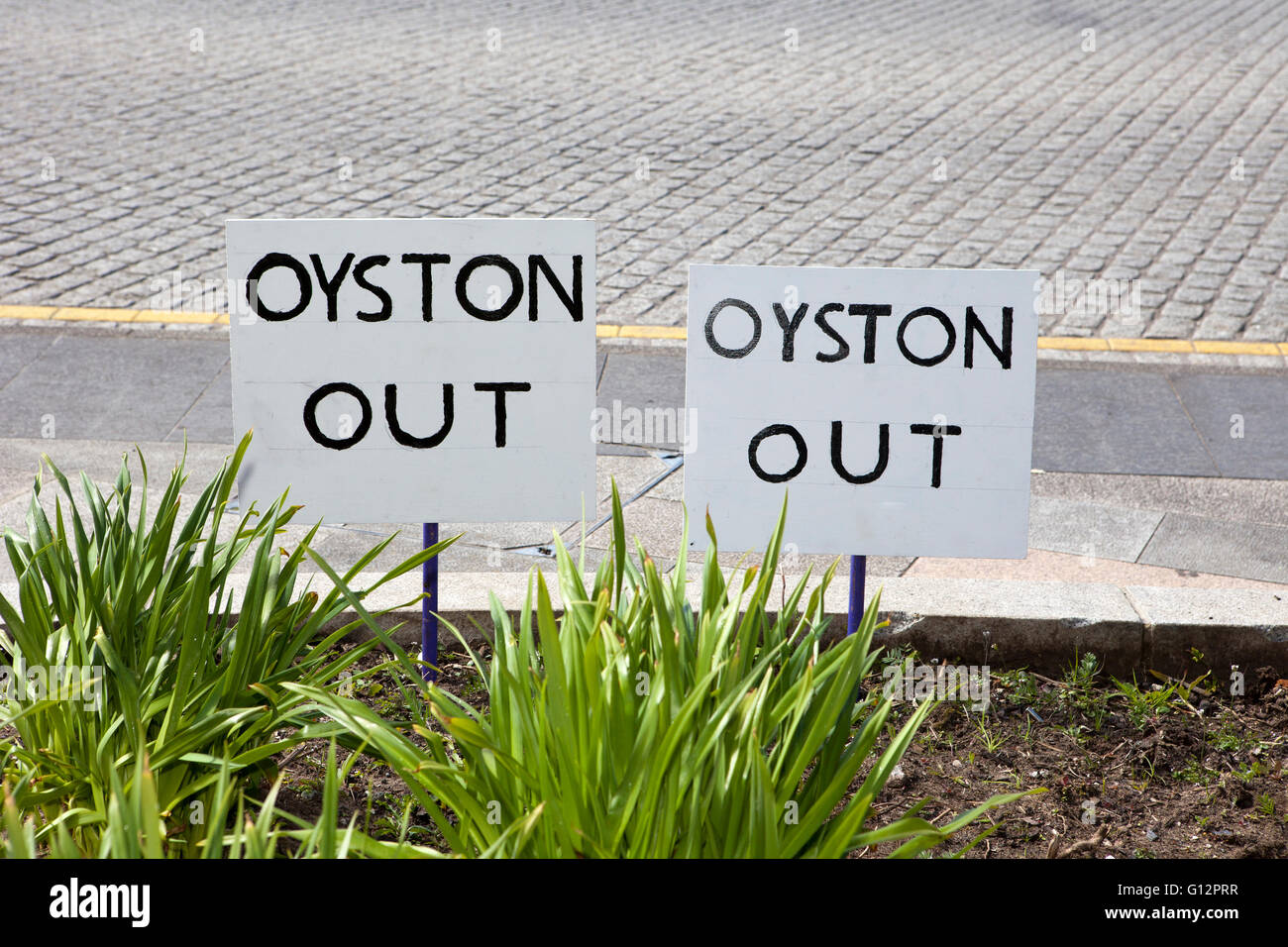 Oyston Out Signs, at Blackpool Football club, Lancashire, UK - Stock Image