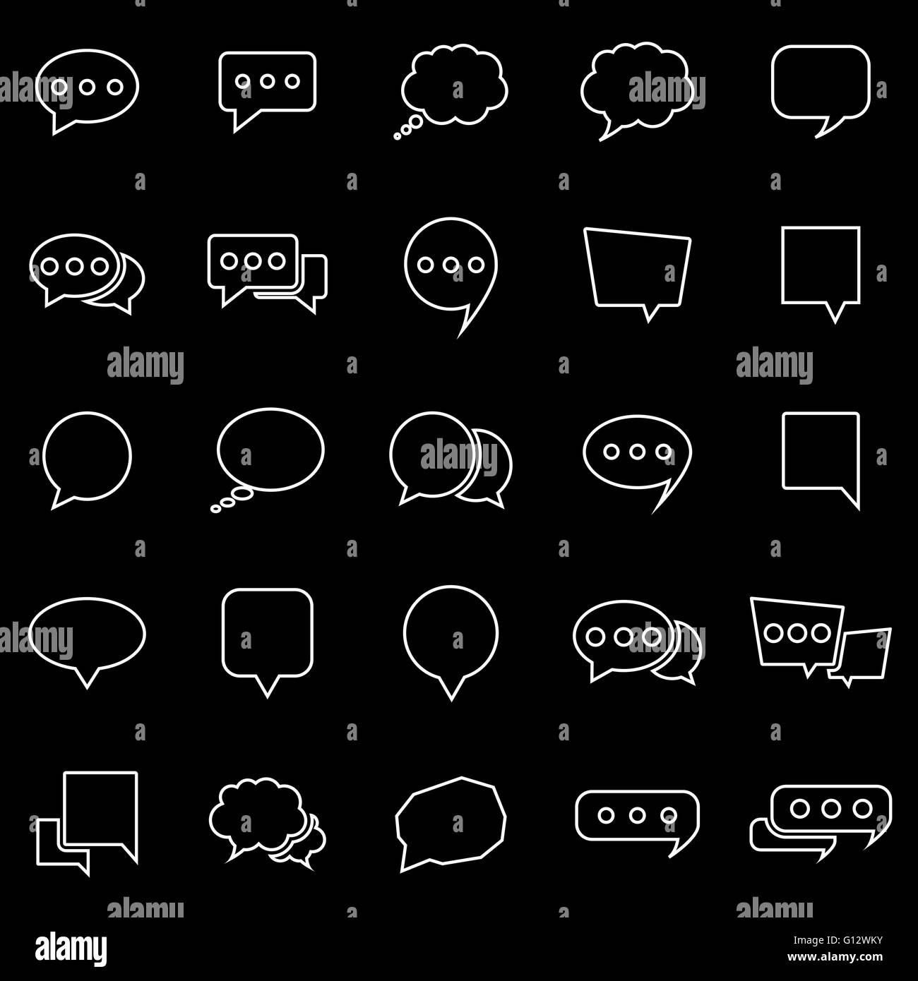 chat line icons on black background stock photos chat line icons