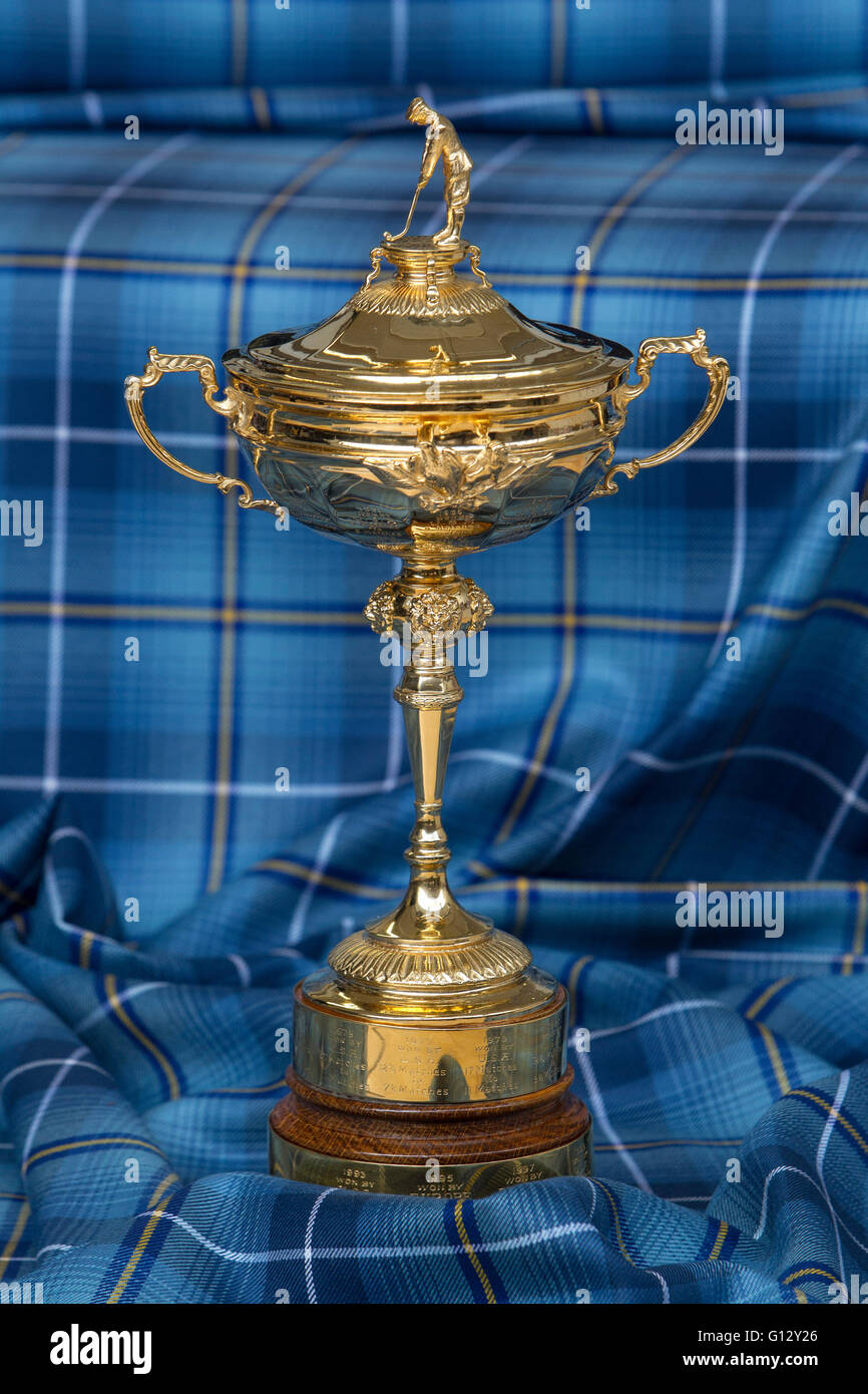 Ryder Cup against Ryder Tartan background - Stock Image