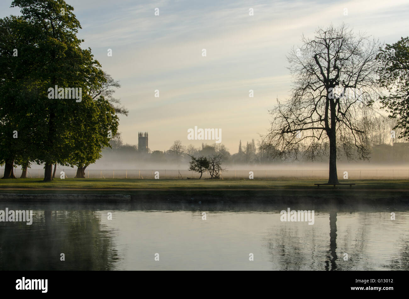May Day sunrise at River Thames, Oxford, England - Stock Image