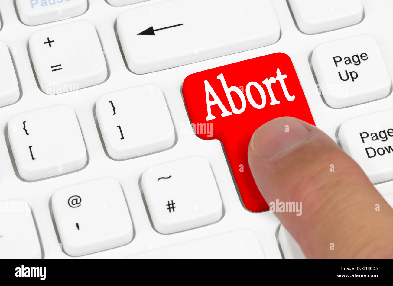 Abort key being pressed on a computer keyboard. - Stock Image