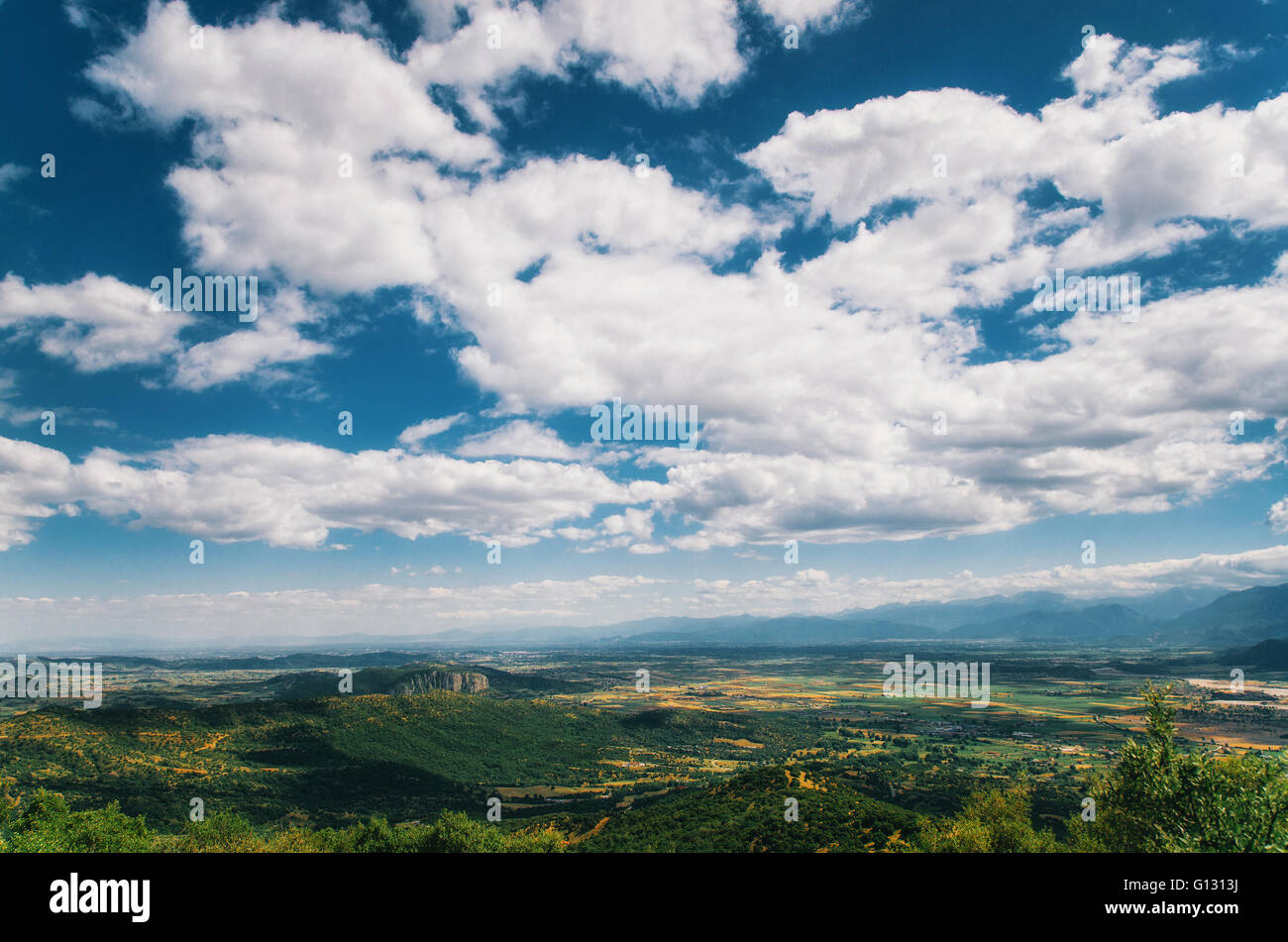 Cloudscape over the valley of Thessaly, Greece - Stock Image