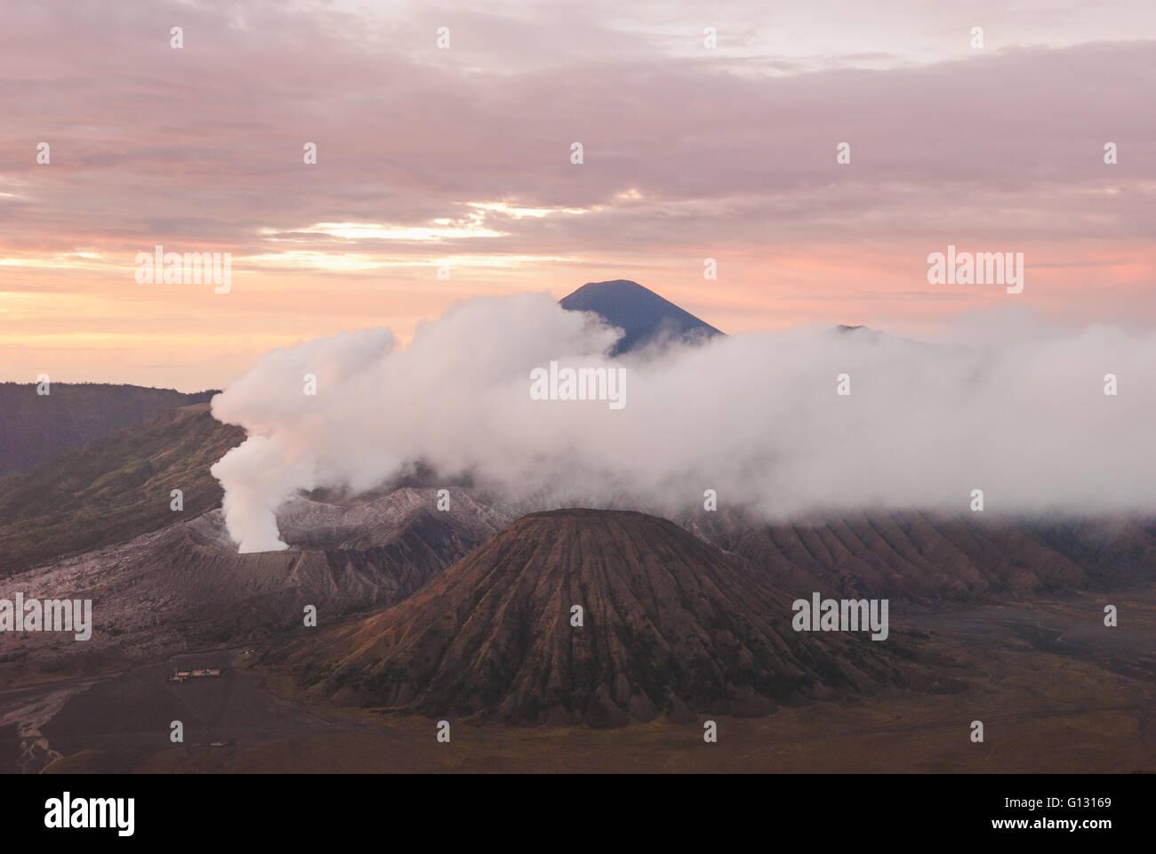 Sunrise over Mt. Bromo in eastern Java - Stock Image