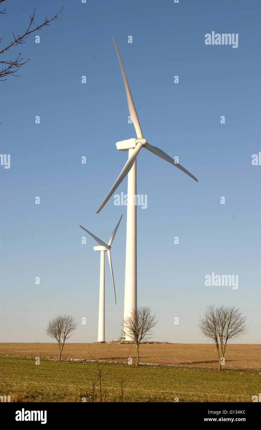 AJAXNETPHOTO - JANUARY 2009. FRANCE. - WIND TURBINES GENERATE ELECTRICTY FOR LOCAL VILLAGES NEAR COAST SOUTH OF - Stock Image