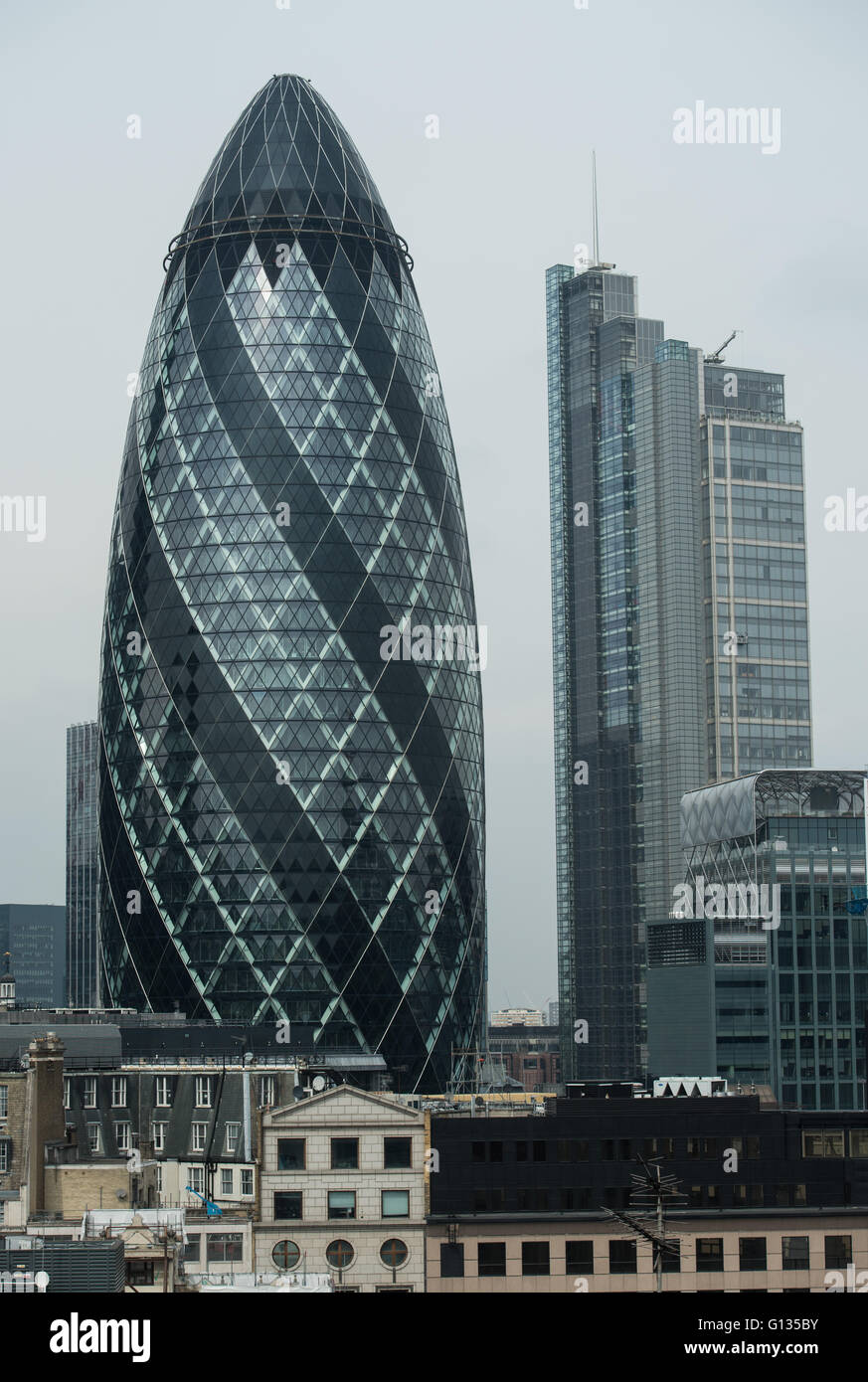 The Gherkin and Heron Tower, City of London - Stock Image