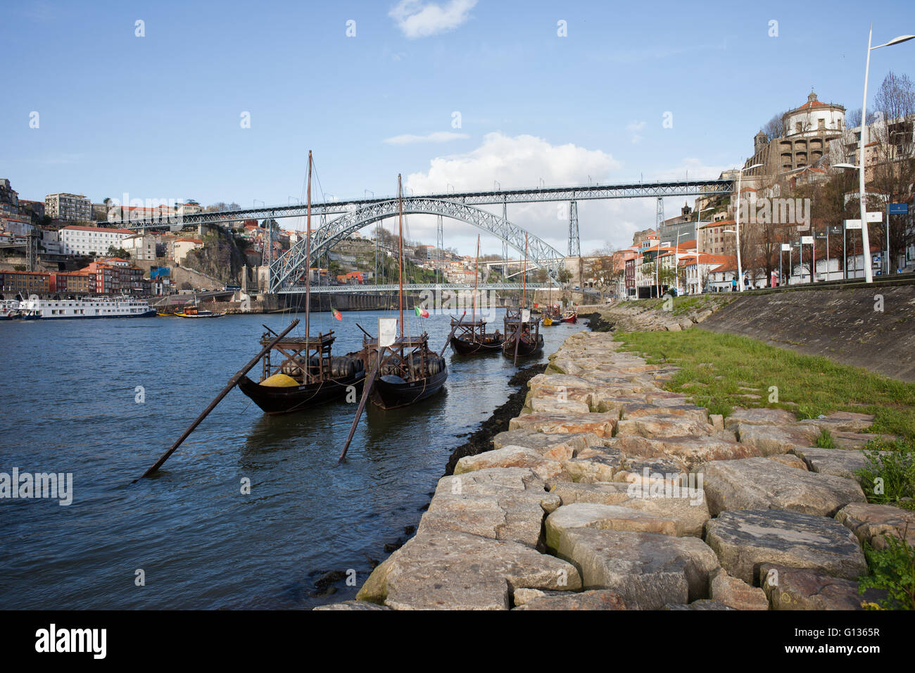 Portugal, city of Porto and Vila Nova de Gaia, Rabelo traditional Portuguese boats for wine transport on Douro river, - Stock Image