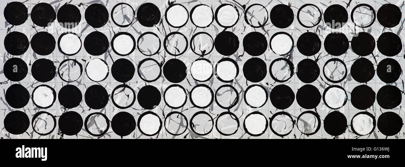 A painted monochrome grid structure - Stock Image