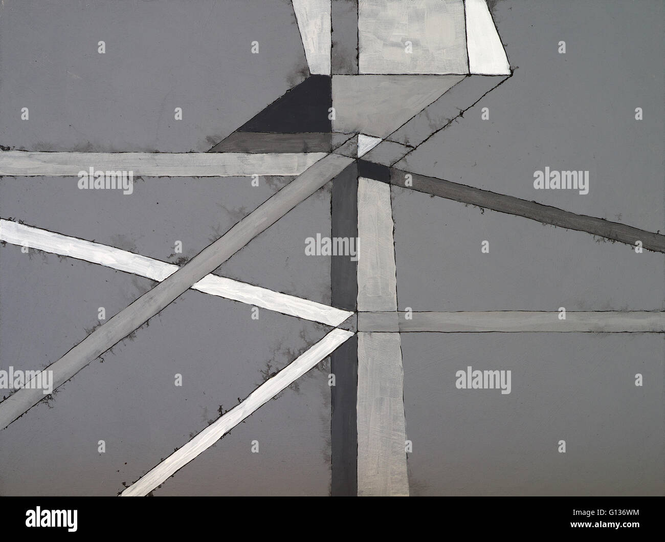 A monochrome geometric abstract painting - Stock Image