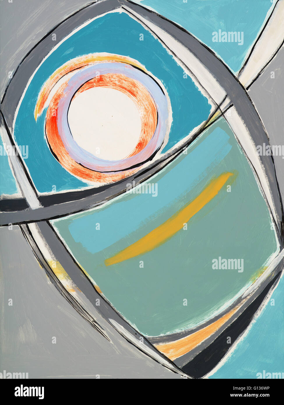 An abstract painting, typical of 1950s and 60s modernism - Stock Image