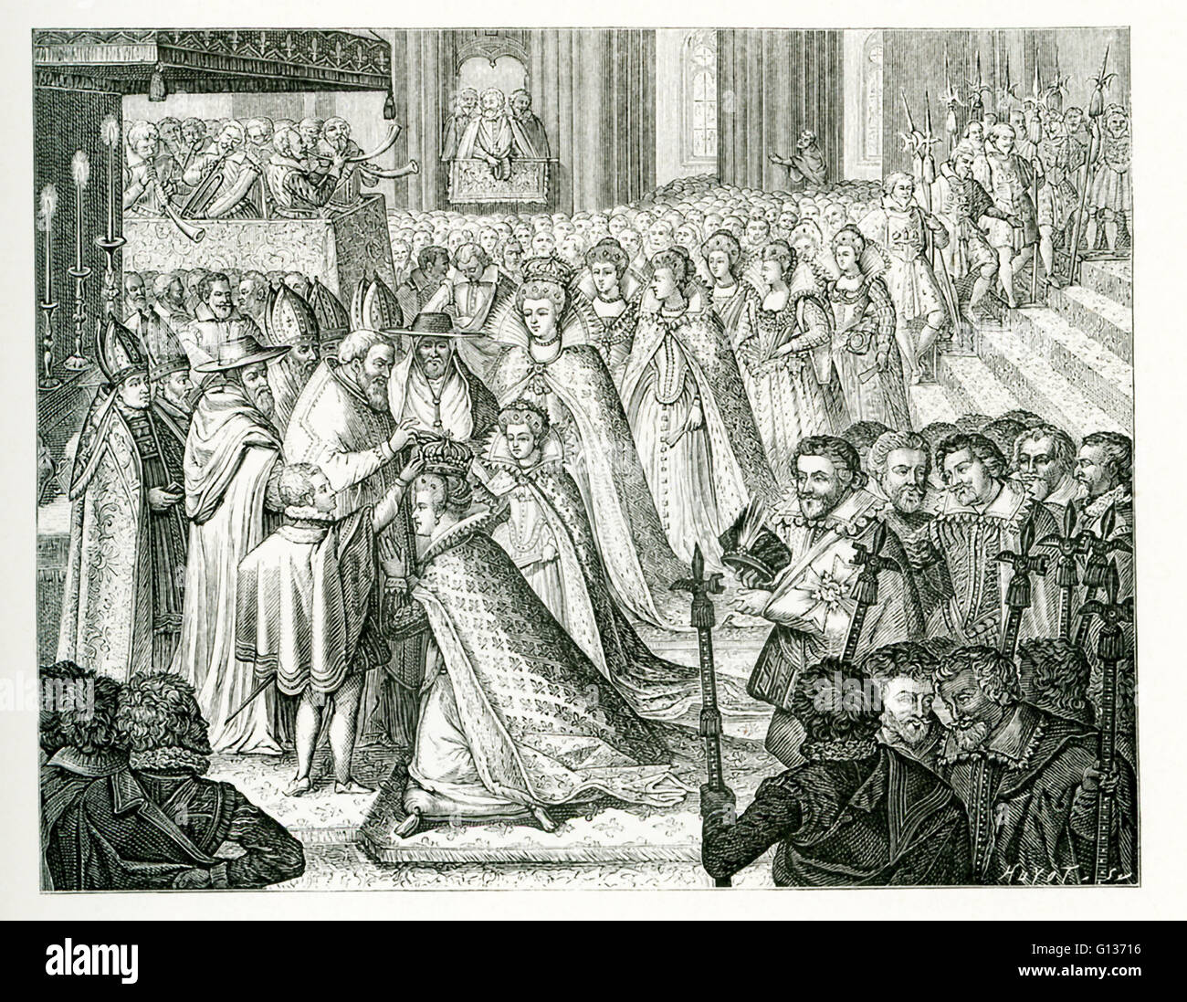 The caption for this engraving translates from French: Coronation of Marie de Medicis. The print, as shown here, - Stock Image