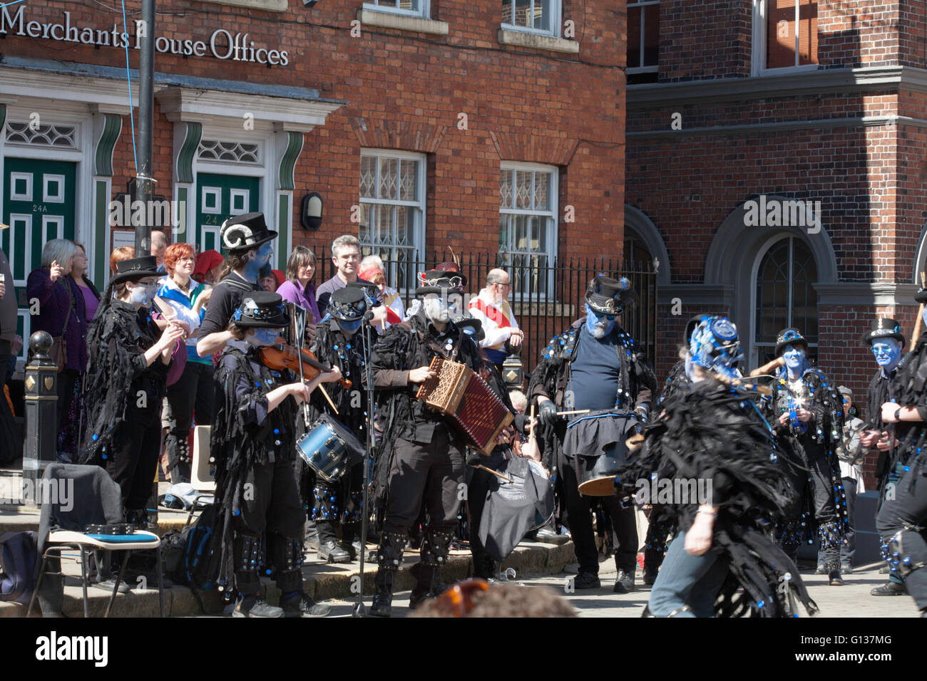 Boggart's Breakfeast Dancing Group Band Stockport Folk Festival  2015 Stockport Cheshire England - Stock Image