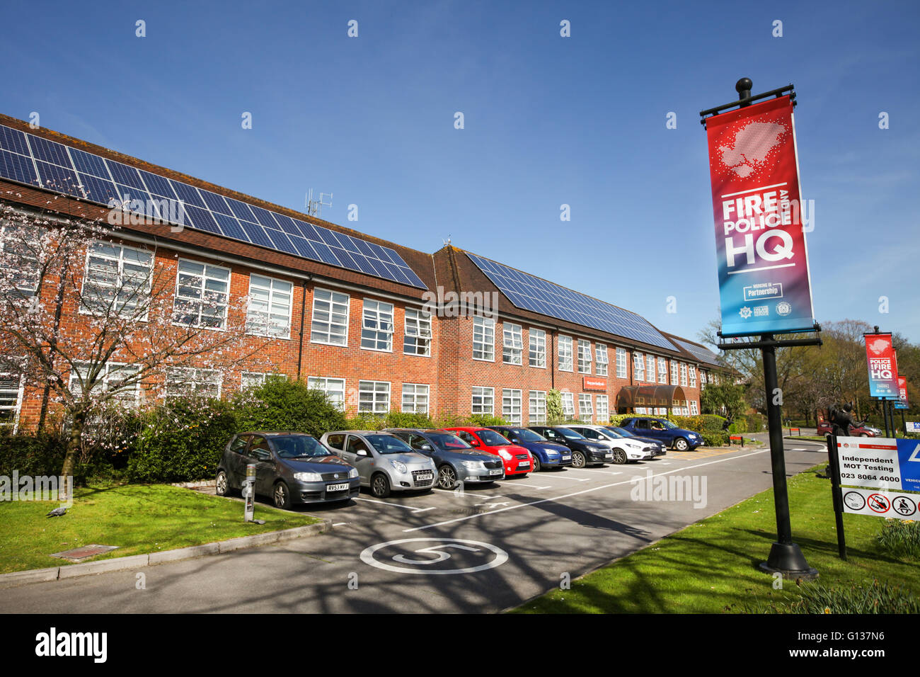 Hampshire Fire and Rescue and Hampshire Constabulary shared Headquarters in Eastleigh. The First shared HQ in the - Stock Image