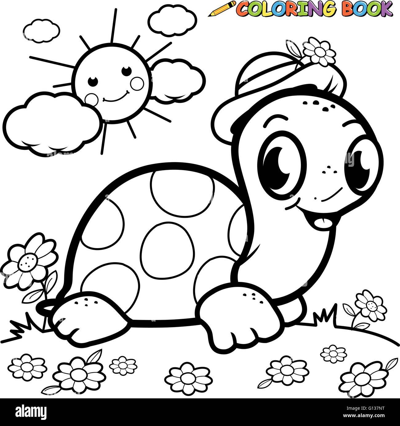 Black And White Outline Image Of A Turtle In The Grass Coloring