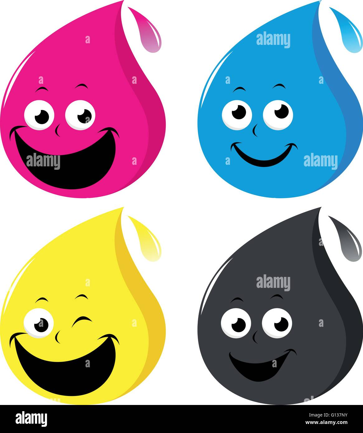 Cmyk Color Cartoon Ink Drop Characters In Cyan Magenta Yellow And