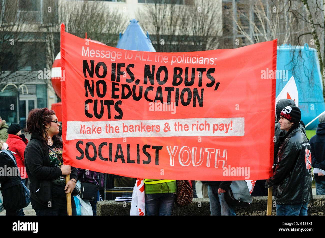 Belfast, Northern Ireland. 29 JAN 2011 -  Students protest against university education fee increases - Stock Image