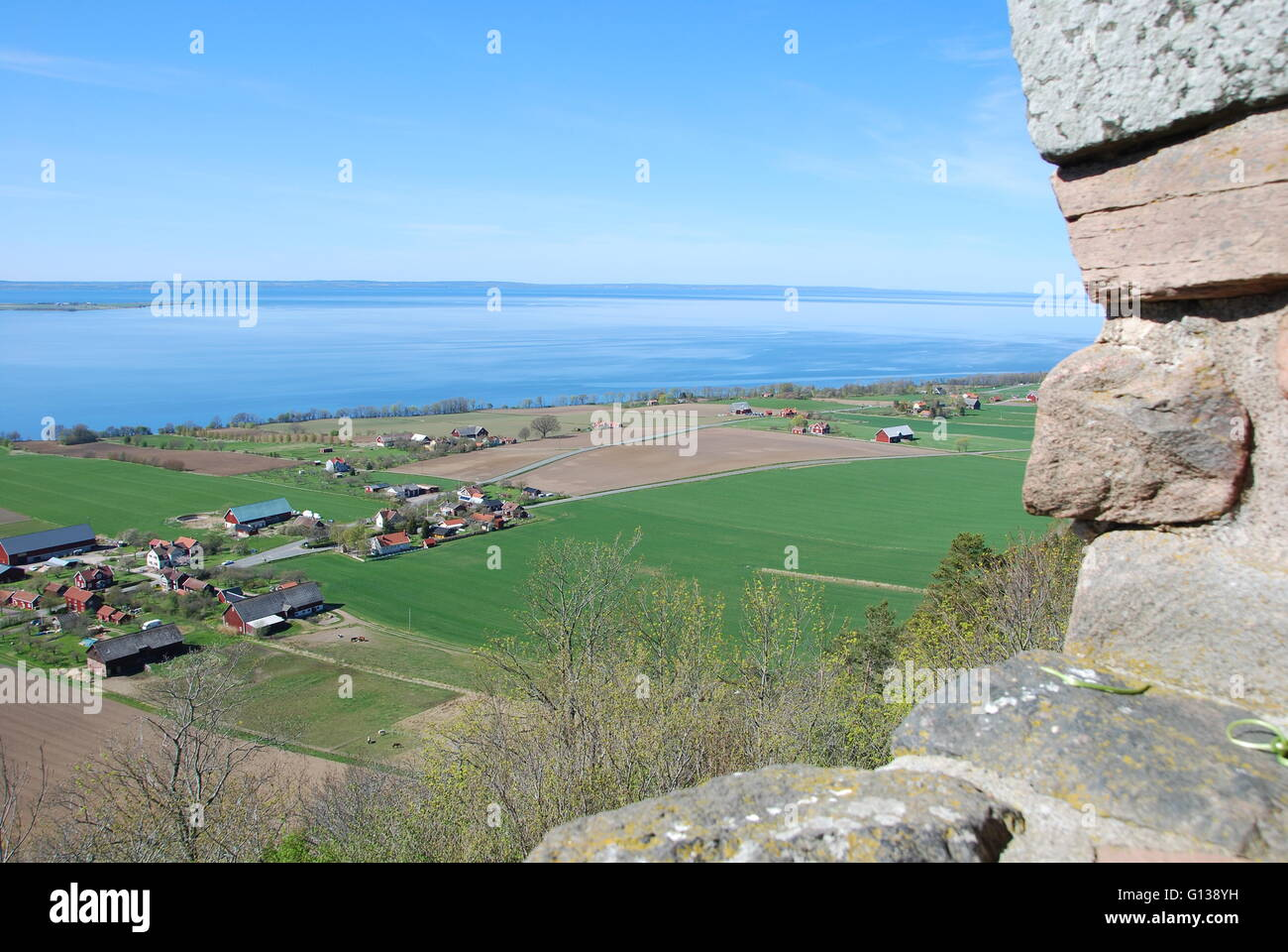 Brahehus view landscape and farmland, built by the Swedish lake Vättern, destroyed by fire 1708 - Stock Image