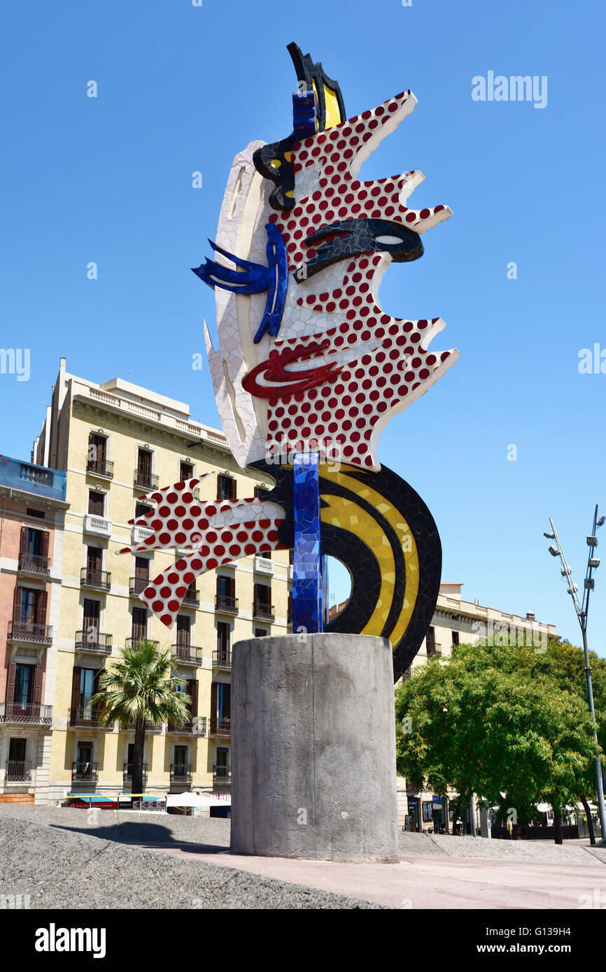El Cap de Barcelona (1991–1992) is a surrealist sculpture created by American Pop artist Roy Lichtenstein - Stock Image