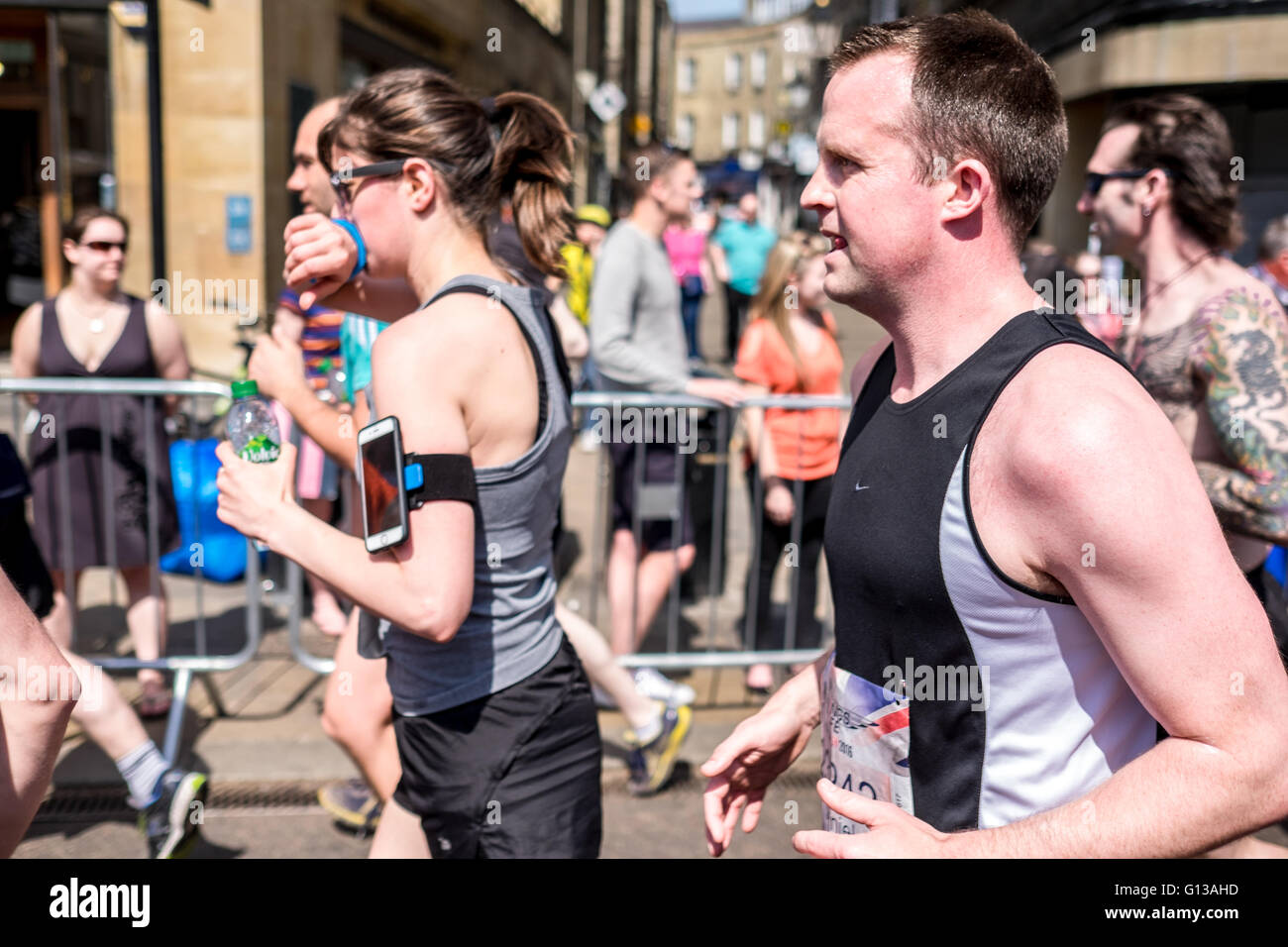 cambridge marathon runners run - Stock Image
