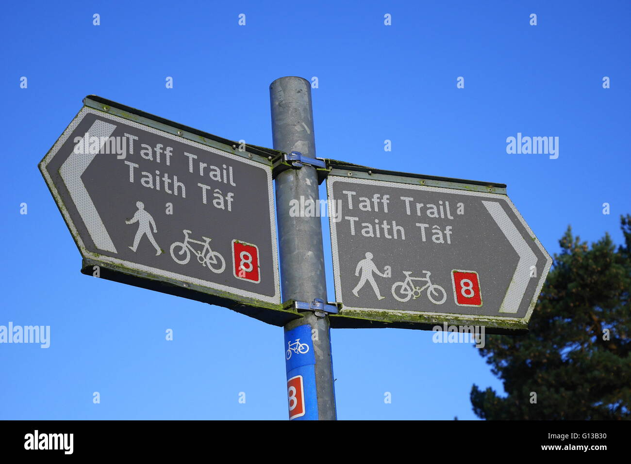 Sign in English and Welsh indicating the Taff Trail, Cardiff, Wales, UK - Stock Image