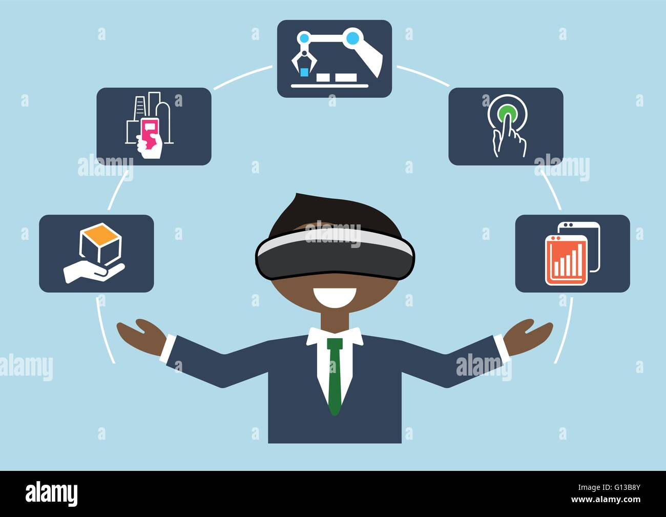 Virtual reality for industrial internet of things (IOT) and advanced business processes automation Stock Vector