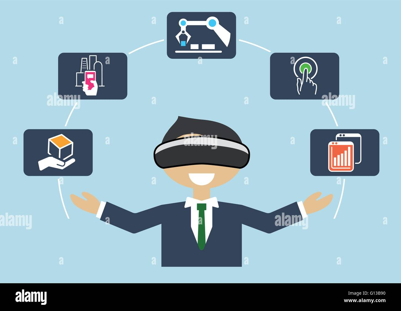Virtual reality for industrial internet of things (IOT) and advanced business processes automation - Stock Image