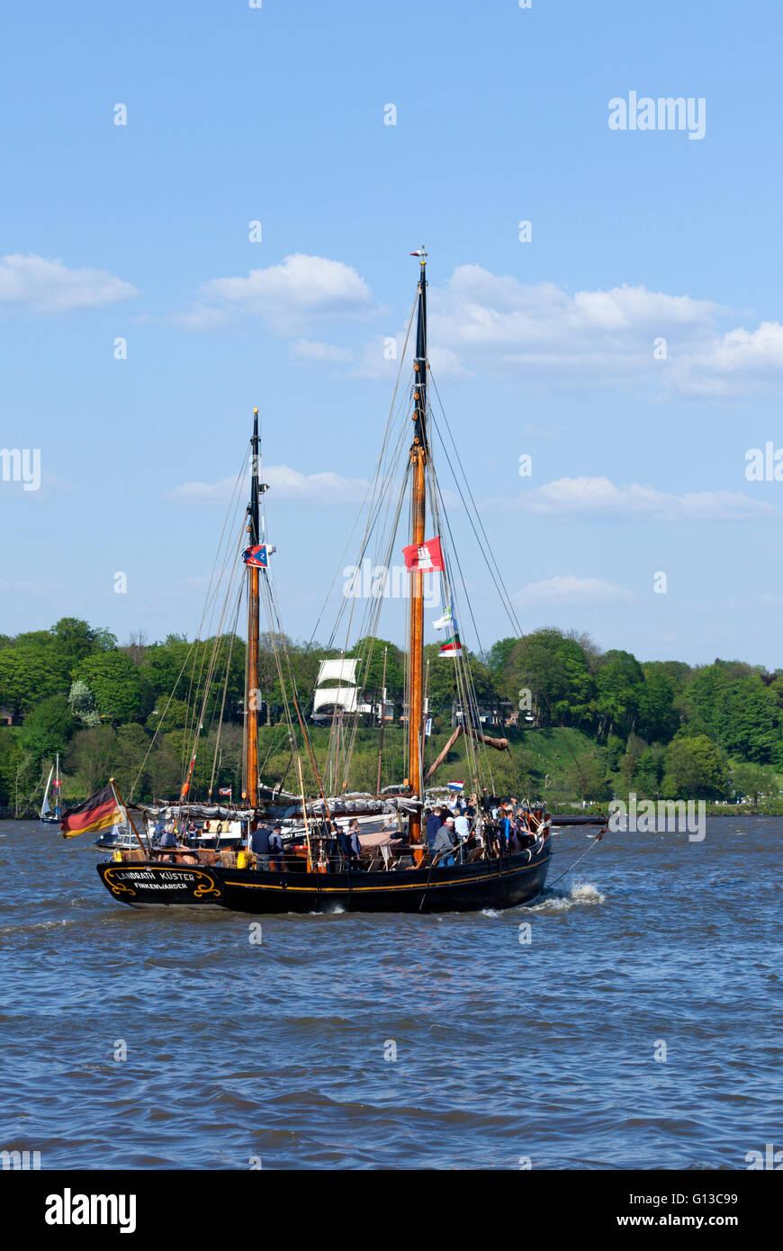 Historic german sail boat 'Landrath Küster' on the Elbe river during 827th Port Anniversary, Hamburg, - Stock Image