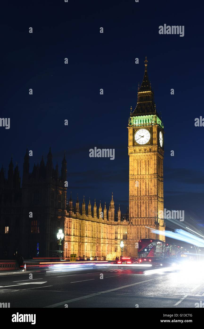 A night time shot of Westminster Abbey and The Big Ben - Stock Image
