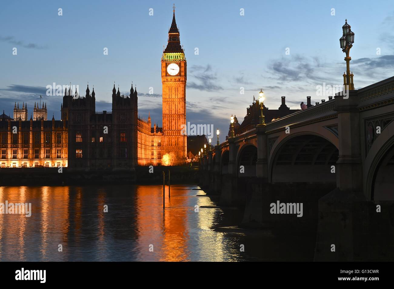 Big Ben and Westminster Bridge over looking the River Thames - Stock Image