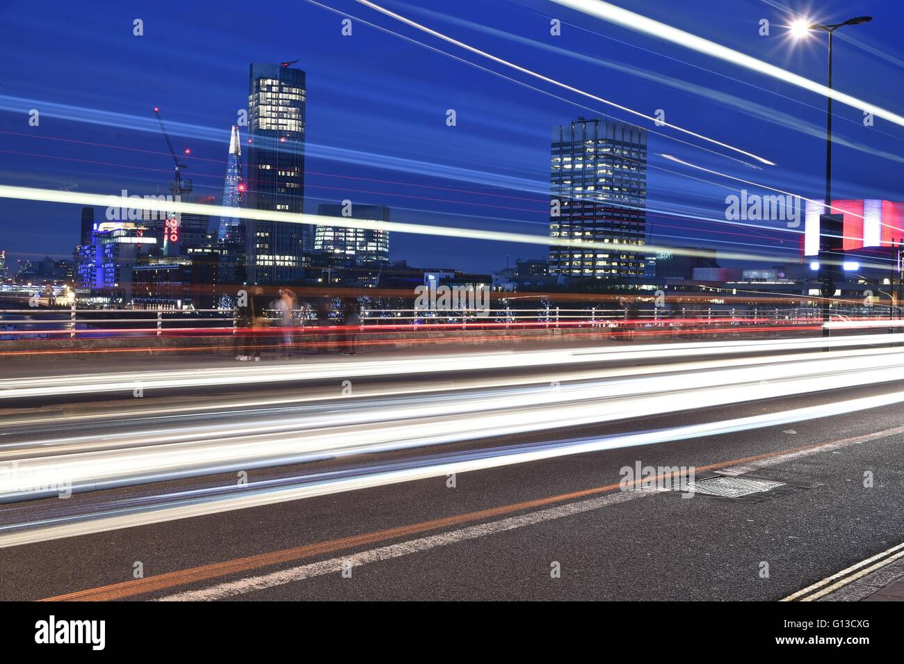 Light trail shot over looking embankment - Stock Image