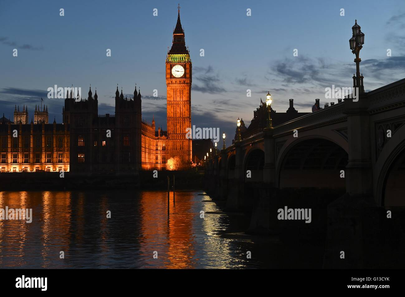 Westminster bridge, The Big Ben and River Thames - Stock Image