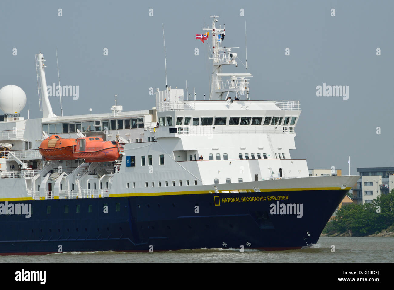 N G Explorer is a small cruise ship owned by National Geographic and operated by Lindblad Expeditions on various - Stock Image