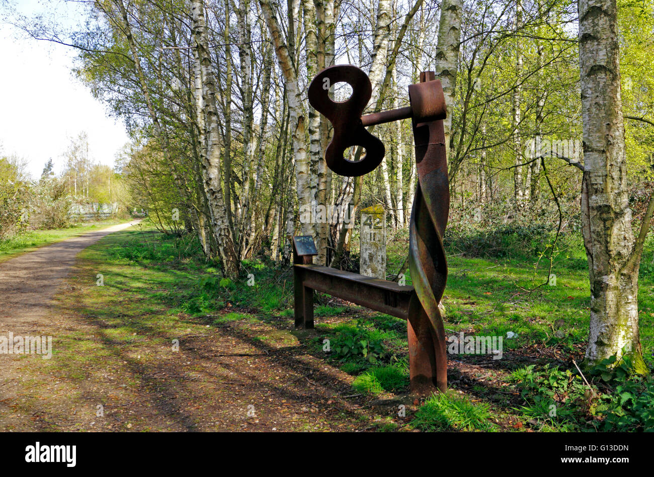 A view of Marriott's Way long distance footpath and cycle way at Lenwade, Norfolk, England, United Kingdom. - Stock Image