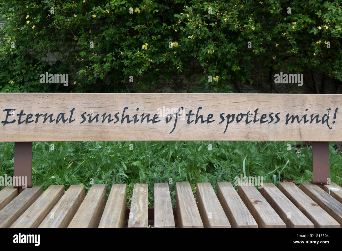an alexander pope quote, from the poem eloisa to abelard, on a bench in twickenham, middlesex, england Stock Photo