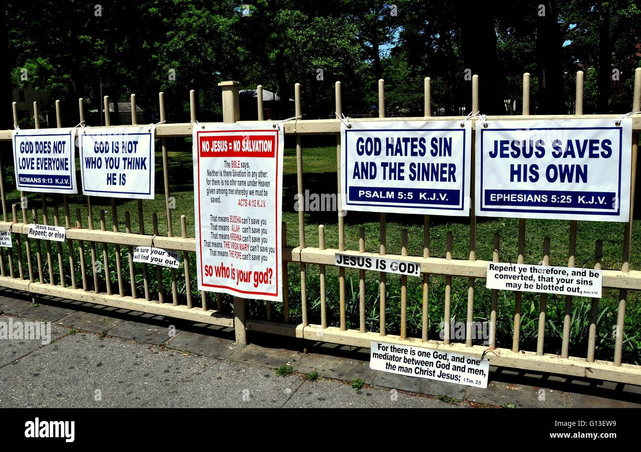 NEW YORK CITY: Religious signs about God and Jesus hung by