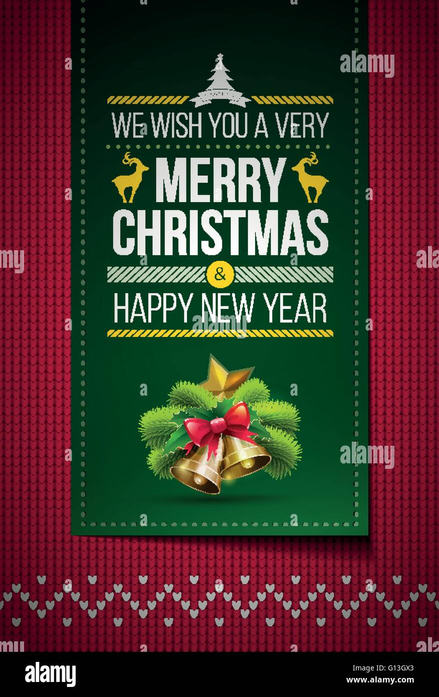 merry christmas and happy new year message on northern style vector knitted pattern elements are layered separately in vector