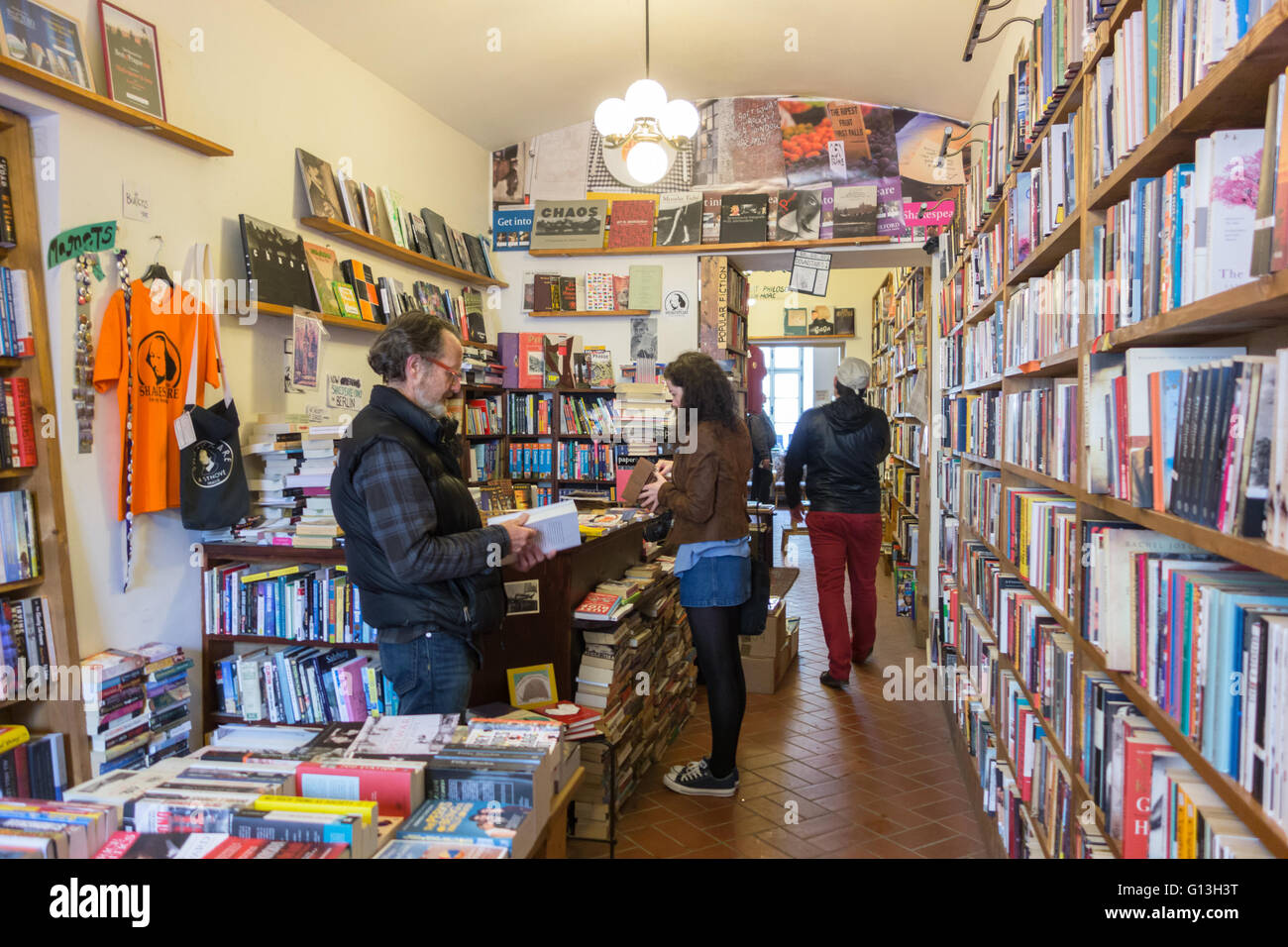 interior of English bookstore 'Shakespeare and Sons' , Mala Strana district, Prague, Czech Republic - Stock Image