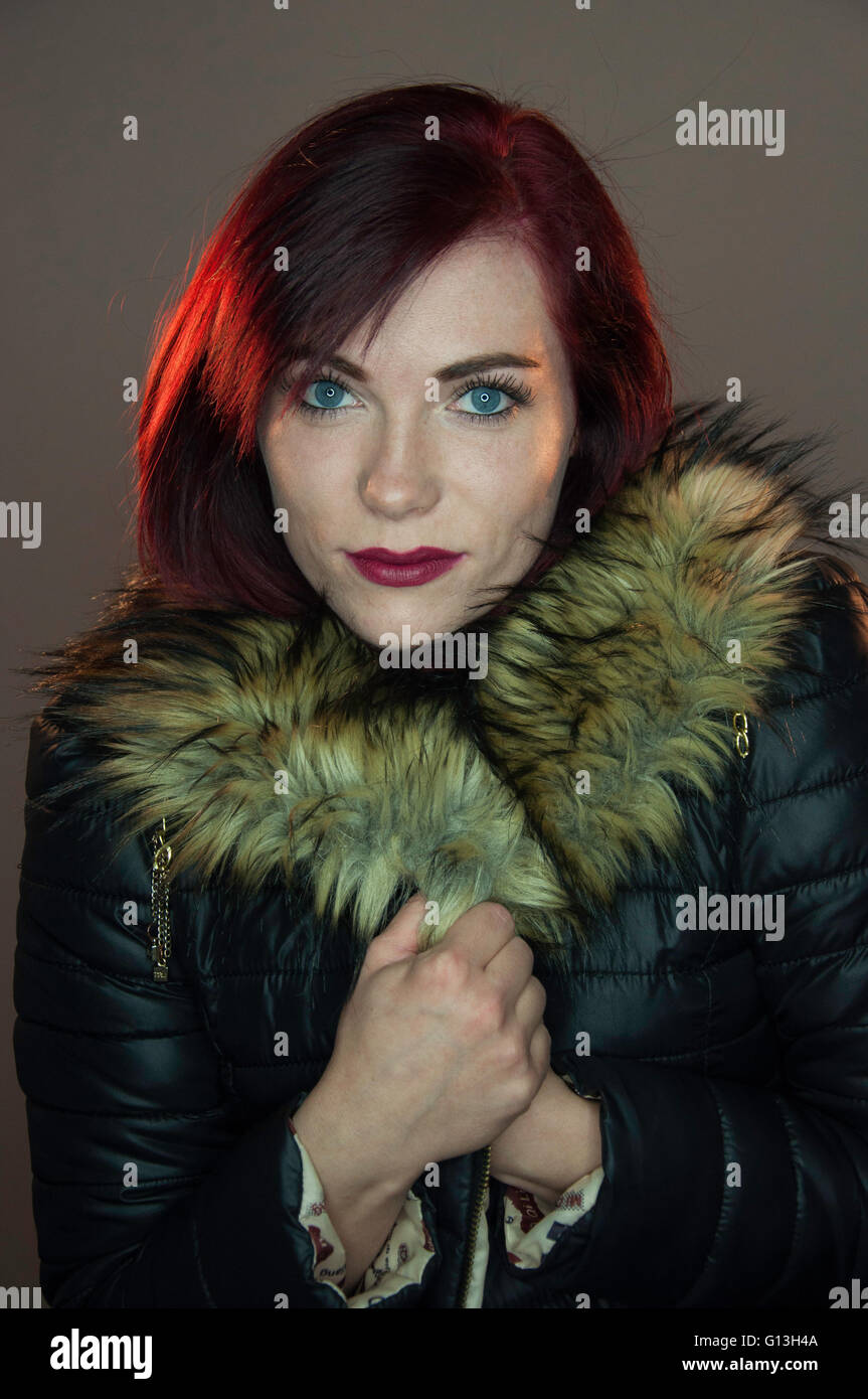 Young female model studio shoot, Hounslow, Greater London, England, United Kingdom - Stock Image