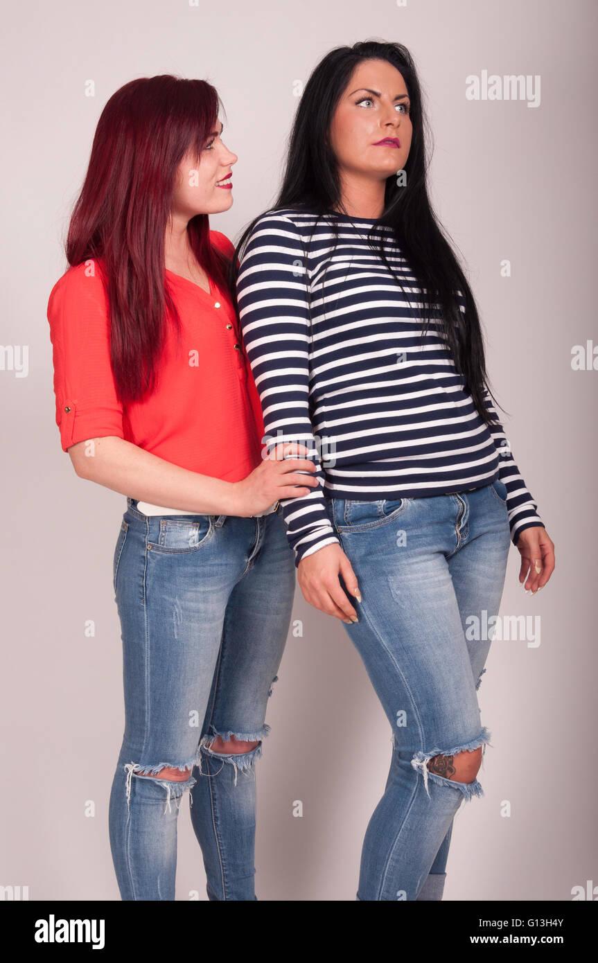Young female models studio shoot, Hounslow, Greater London, England, United Kingdom - Stock Image