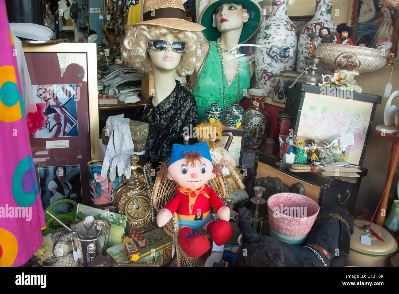 Antique shop window, King Street, Newtown, Sydney, New South Wales, Australia - Stock Image
