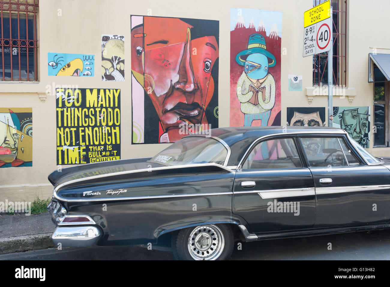 Wall murals and classic car on Goddard Street Newtown Sydney New