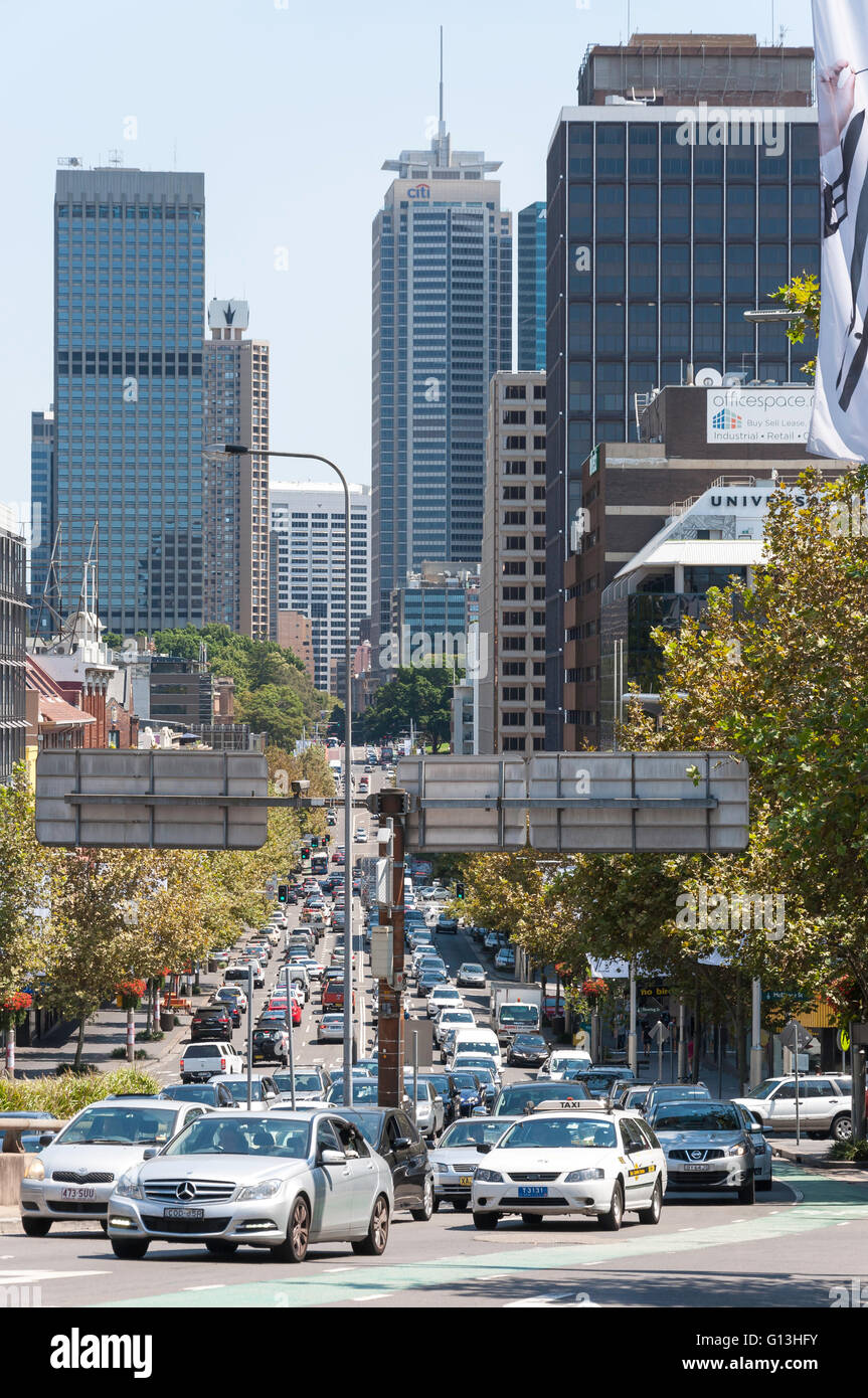 View of William Street and Sydney CBD from Kings Cross, Sydney, New South Wales, Australia - Stock Image