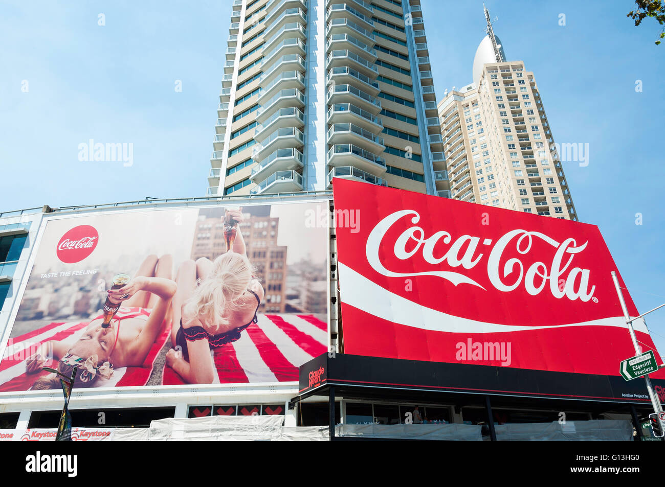 Coca Cola Billboards and high-rise apartments, Darlinghurst Road, Kings Cross, Sydney, New South Wales, Australia - Stock Image